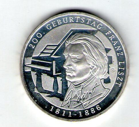 Германия 10 евро 2011 200 лет со дня рождения Франца Листа серебро UNC c33