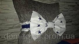Бант на выписку синие звезды на белом