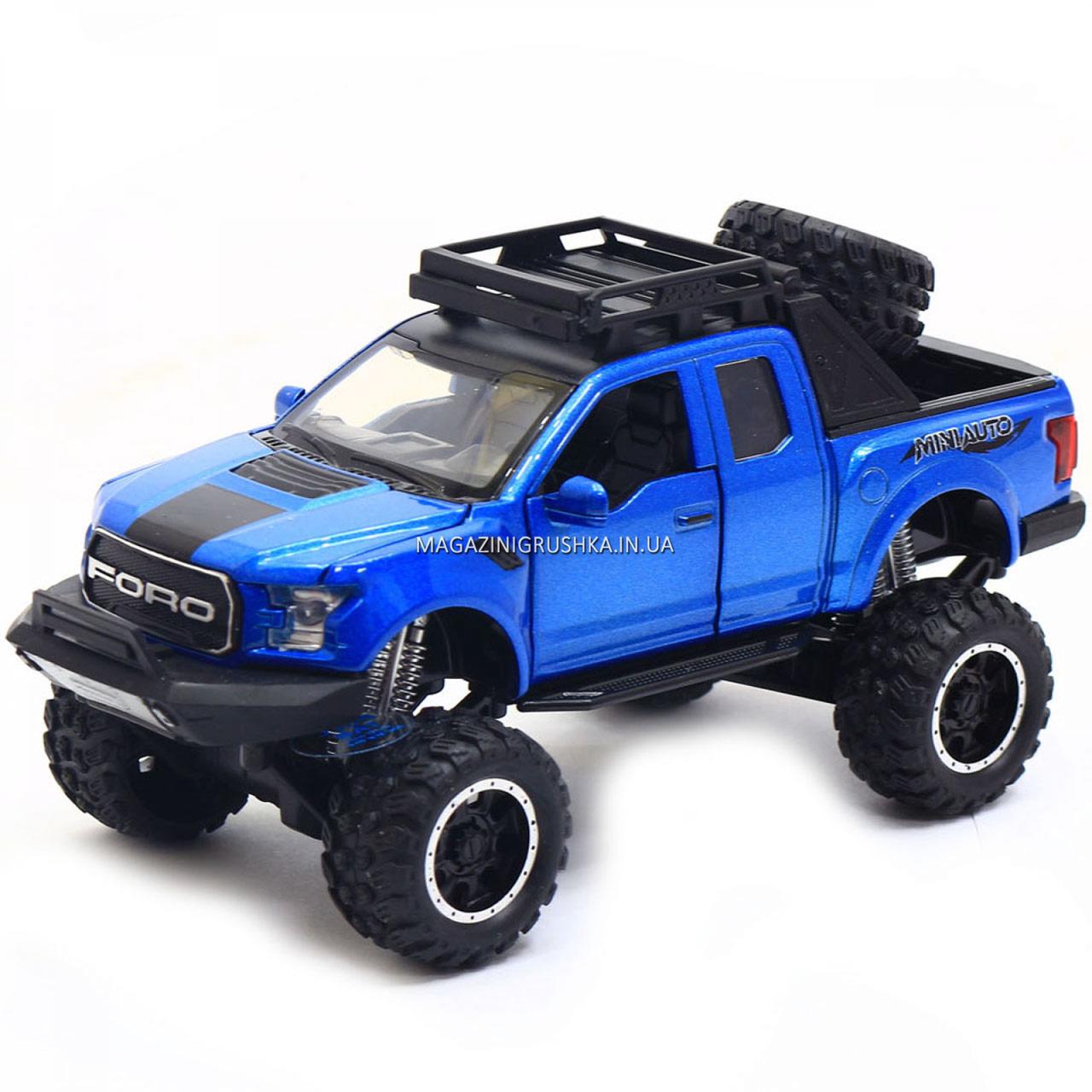 Машинка ігрова Автопром «Ford F-150» Синій зі світловими і звуковими ефектами (7865)