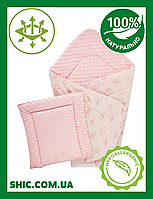 Плед детский плюшевый DOTINEM Minky 75х100 розовый c подушечкой 35х35. Двусторонний конверт плед на выписку.