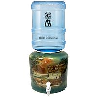 Керамический диспенсер для воды «Хата Зелёная», фото 1