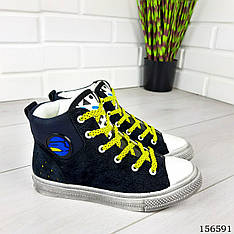 Кроссовки детские, подростковые черные на шнурках из эко замши. Кросівки дитячі чорні підліткові