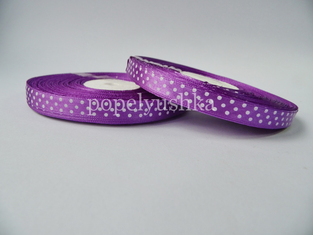 Стрічка в горох 1 см фіолетова