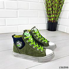 Кроссовки детские, подростковые зеленые на шнурках из эко замши. Кросівки дитячі зелені підліткові