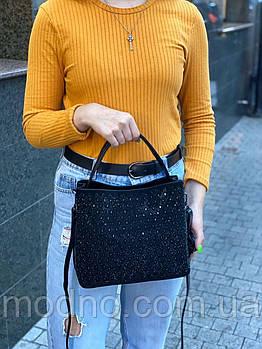 Жіноча замшева сумка з камінням на і через плече Polina & Eiterou