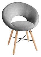 Стильное круглое тканевое серое кресло на деревянных ножках, фото 1