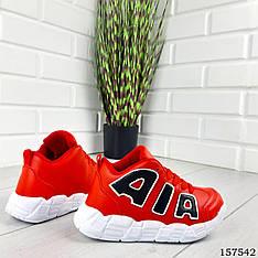 Кроссовки детские, подростковые красные на шнурках из эко кожи. Кросівки червоні чорні підліткові