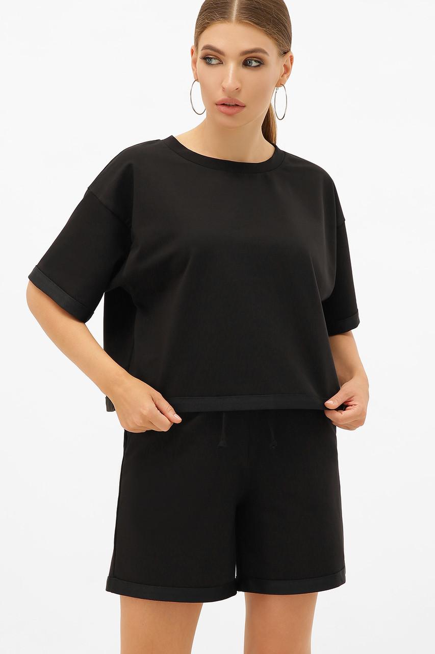Женский трикотажный костюм футболка и шорты черный Шакира