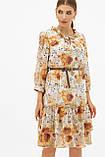 Платье шифоновое прямого кроя белое с цветами Элисон, фото 2