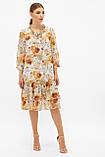 Платье шифоновое прямого кроя белое с цветами Элисон, фото 3