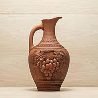 Кувшин из красной глины 3,5л лепка Виноград, в/п глазурь, фото 1