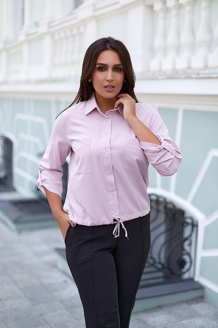 Женская блузка софт длинный рукав 4 цвета размер: от 42 до 58
