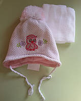 Комплект зимний шапка и шарф для девочки Совенок