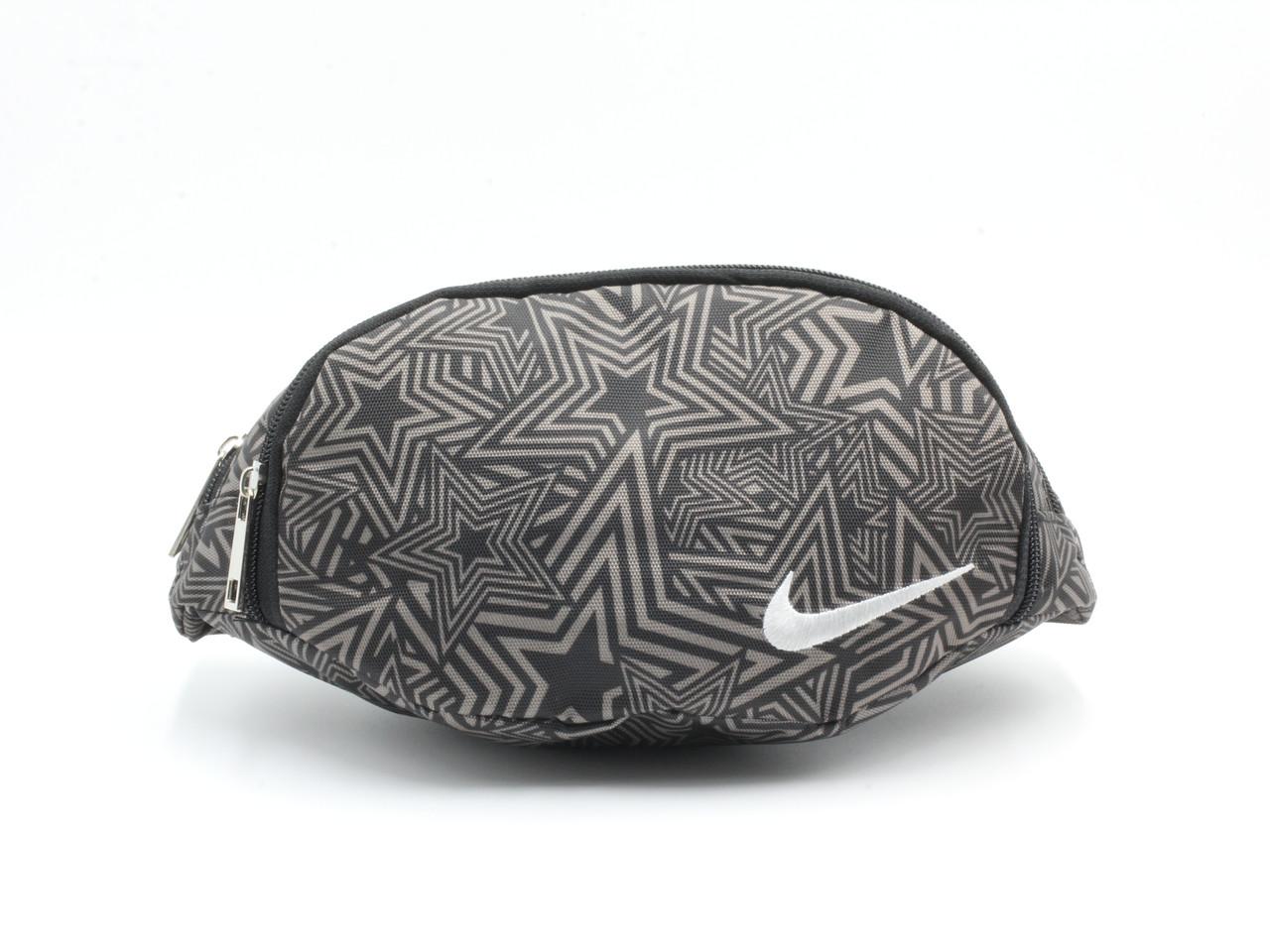 Сумочка поясная (бананка) из плотной ткани Звезды Nike черно-кофейная