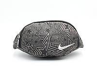 Сумочка поясная (бананка) из плотной ткани Звезды Nike черно-кофейная, фото 1