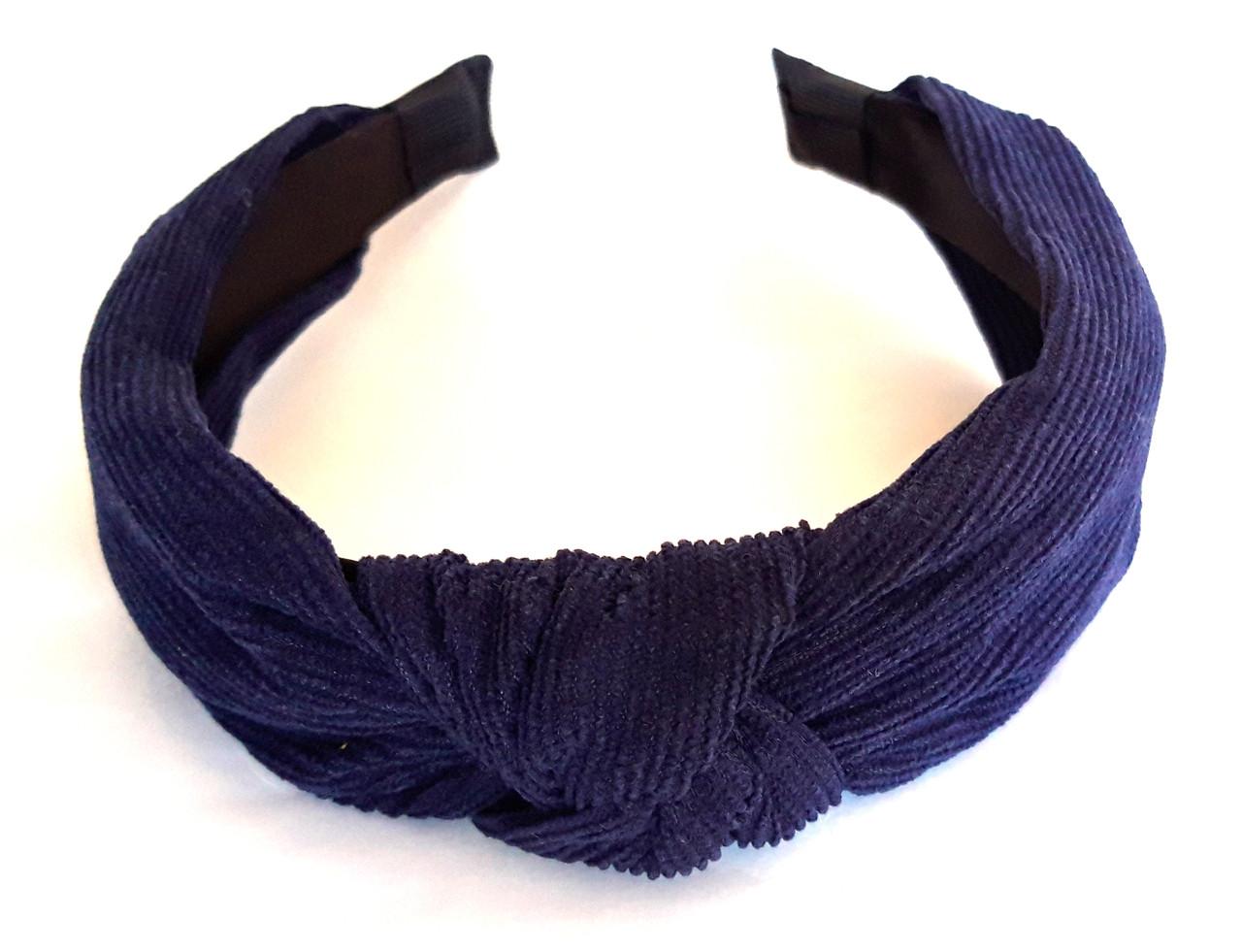 Обруч-чалма вельвет 5 см, темно-синий