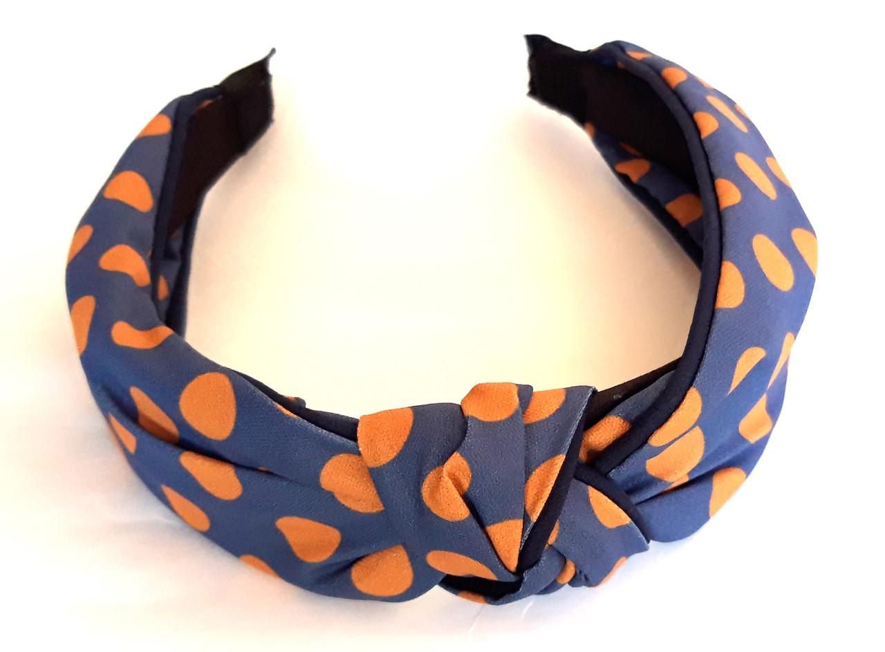 Обруч-чалма синий в оранжевый горошек