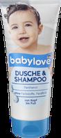 Детский шампунь и  гель для душа  Нежность  Babylove 2 в1 Dusche & Shampoo 200 мл