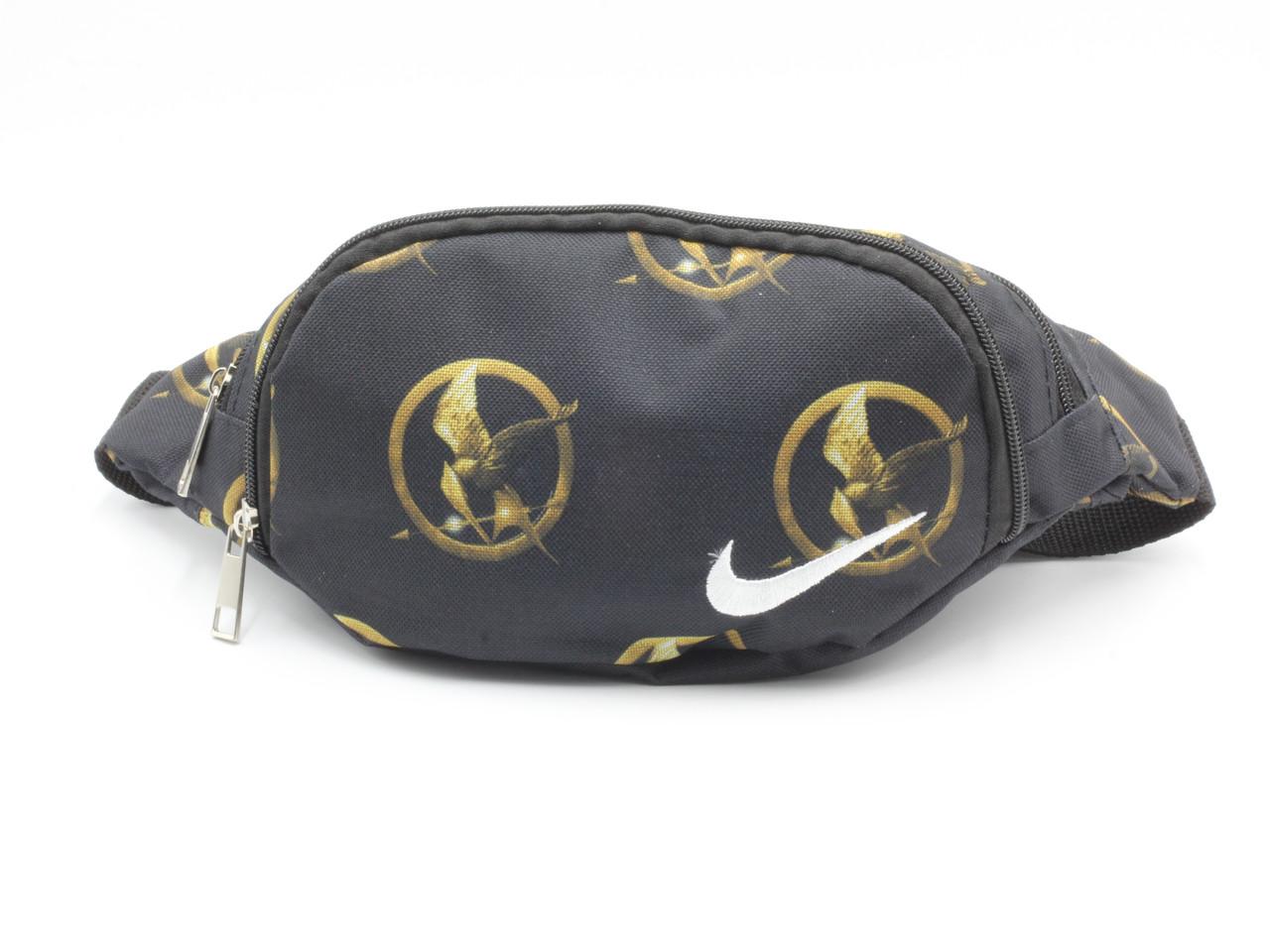 Сумочка поясная (бананка) из плотной ткани Птица Nike черная