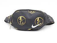 Сумочка поясная (бананка) из плотной ткани Птица Nike черная, фото 1