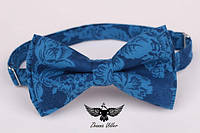 Бабочка голубые цветы на синем, фото 1