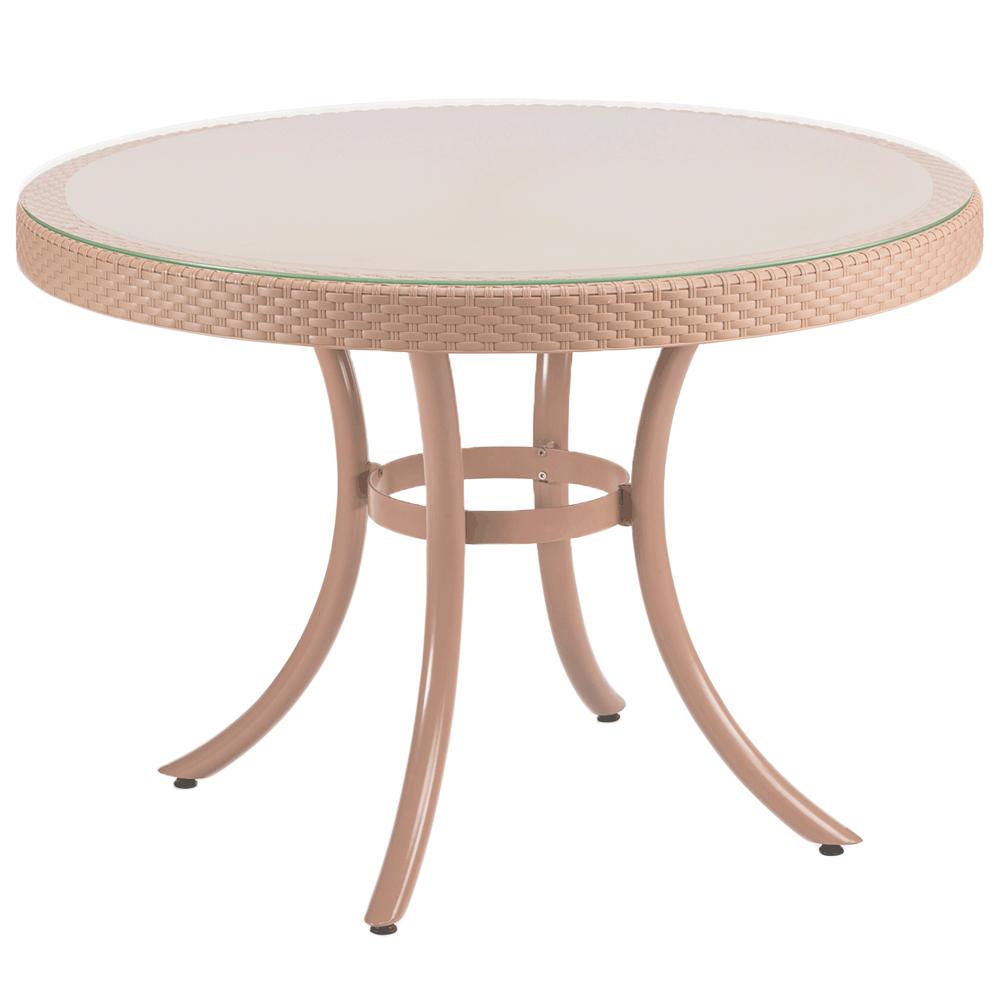 Стол Tilia Osaka d110 см столешница из стекла, ножки алюминиевые кремовый