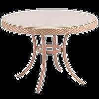 Стол Tilia Osaka d110 см столешница из стекла, ножки алюминиевые кремовый, фото 1