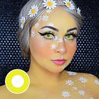 Желтые линзы для глаз. Желто зеленые линзы для глаз. Контактные желтые линзы. Цветные линзы на Хеллоуин