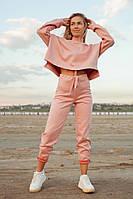 Женский пудровый замшевый костюм размеры 42-50