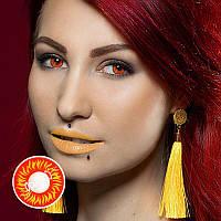 Красно желтые линзы для глаз. Красные линзы для глаз. Контактные желтые линзы. Цветные линзы на Хеллоуин