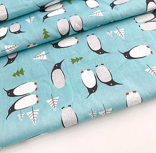 "Сатин ""пингвины на бирюзовом"" 160, фото 2"