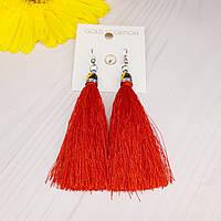 Сережки з червоними нитками застібка-петля