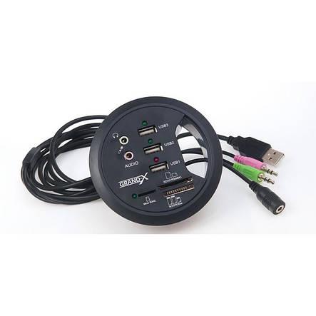 Концентратор USB2.0 Grand-X DH-80XDC Black 3хUSB2.0 + бж, фото 2
