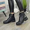 Ботинки женские на невысоком устойчивом каблуке. Цвет черный, фото 2
