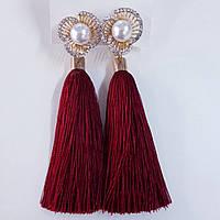 Сережки кисті колір бордо з перлами