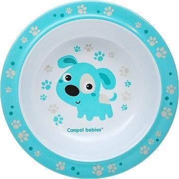 Меламиновая тарелка на присоске, голубая с собачкой - Canpol Babies