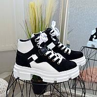 Ботинки женские спортивного стиля на тракторной подошве, цвет черный/белый