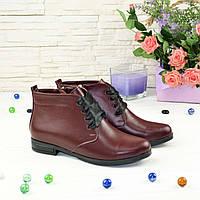 Ботинки женские кожаные на шнуровке. Цвет бордовый