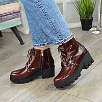 Ботинки женские коричневые на шнуровке. Натуральная кожа рабат