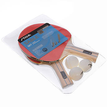 Набор для настольного тенниса 2 ракетки, 3 мяча STIGA SABLE (древесина, резина)