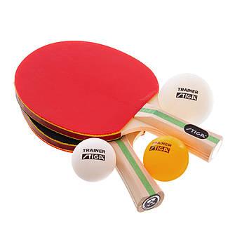 Набор для настольного тенниса детский 2 ракетки, 3 мяча STIGA TECHNIQUE (древесина, резина)