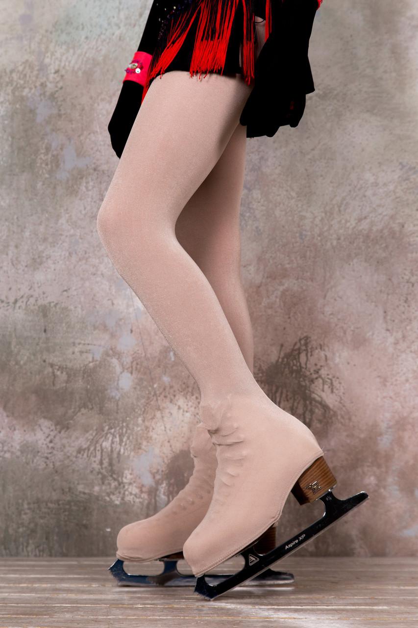 Колготки для фигурного катания сатин, светло-телесные, 109-125 см, (Ice&Flame) чехлом на ботинок
