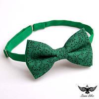 Галстук-бабочка зеленые веточки