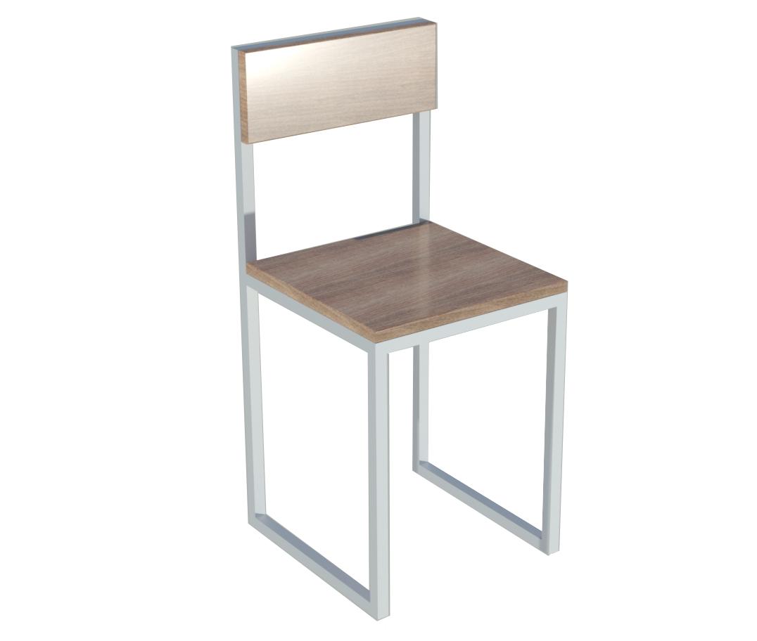 Классический белый металлический стул в кафе
