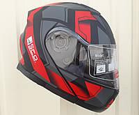Шлем трансформер модуляр SCO чёрно красный матовый размер S , M
