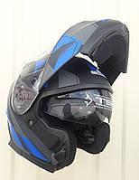 Шлем трансформер модуляр SCO чёрно синий матовый размер S и M