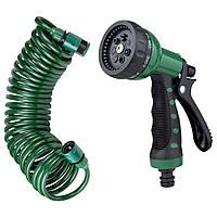Набор поливочный: шланг спиральный 7,5м + пистолет распылитель 7-ми режимный Grad (5019065), фото 1