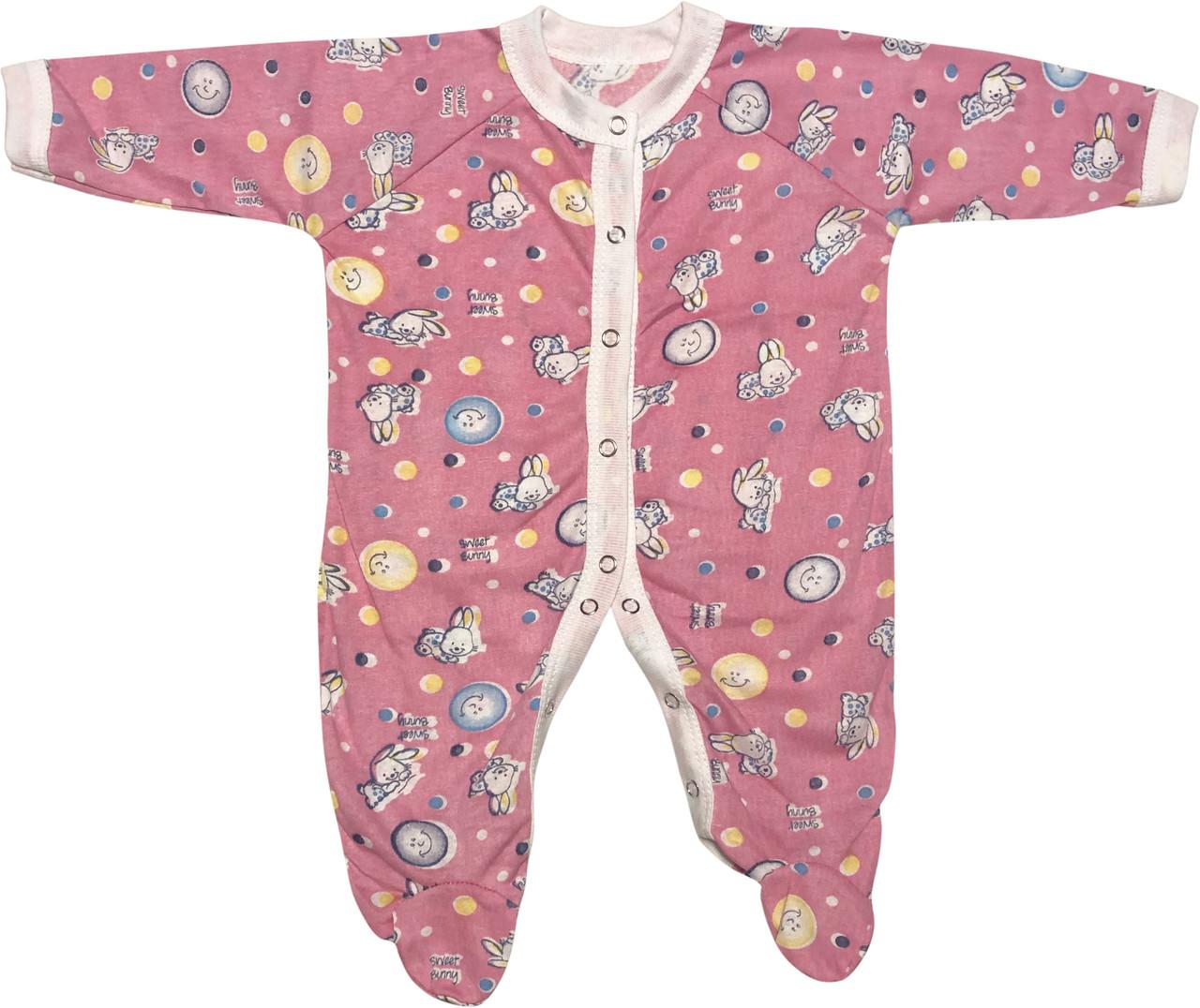 Детский тонкий человечек рост 56 0-2 мес хлопковый кулир розовый на девочку слип для новорожденных малышей В190