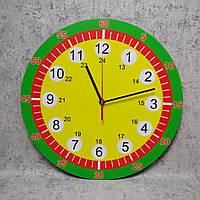 Обучающие настенные часы. Зелёный ободок