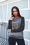 Женская стильная кофта свитер коттон+акрил рукав 3/4 размер универсальный 48-52, фото 6